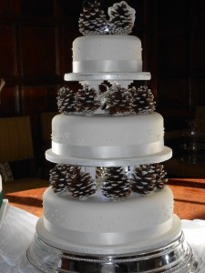 Pinecone Three Tier with pinecone bride and groom