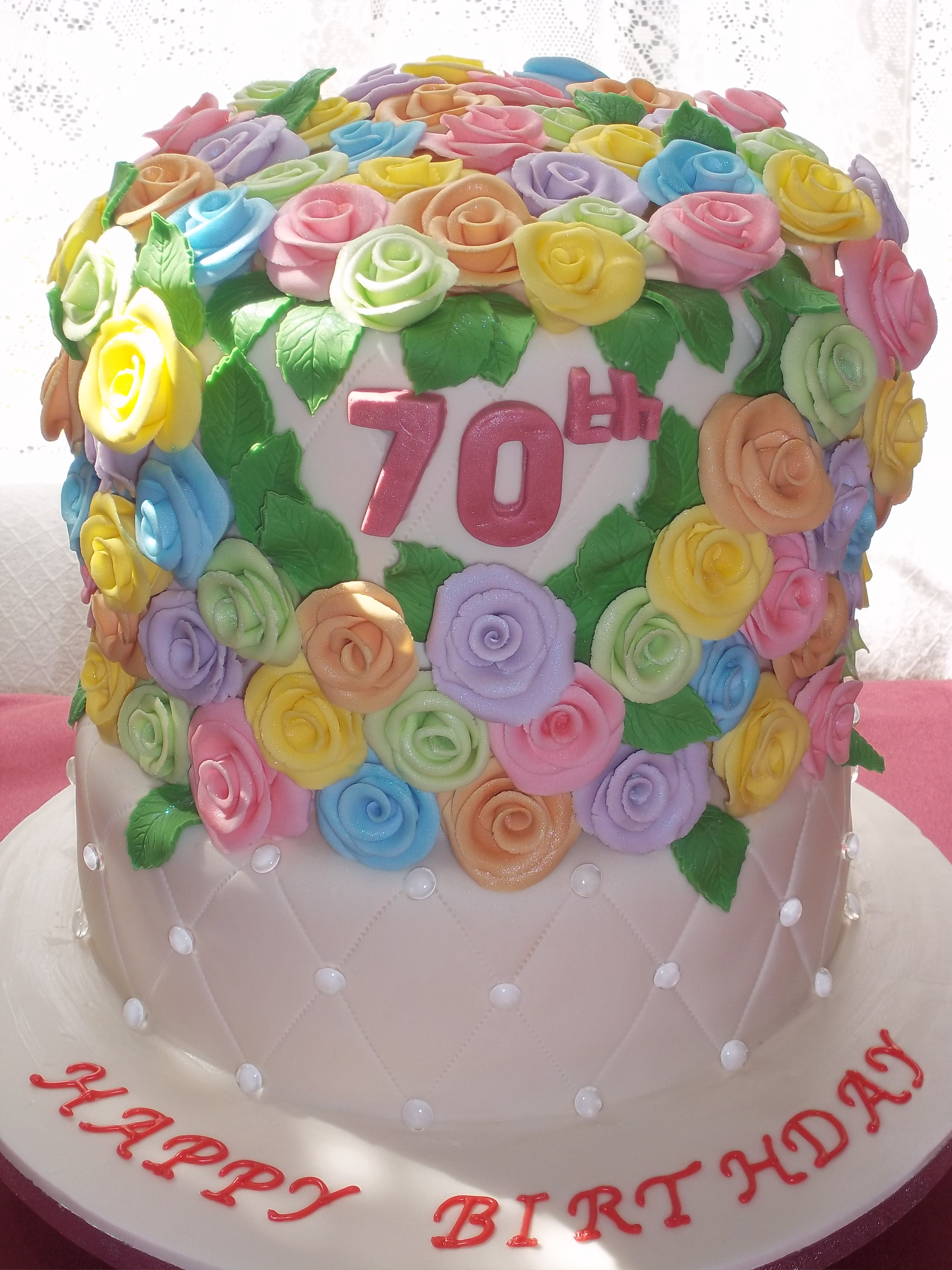 70 Roses For 70th Birthday Cake Jans Occasional Cakes