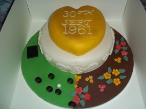 Golden Anniversary Cake for a Bowling and Gardening Couple