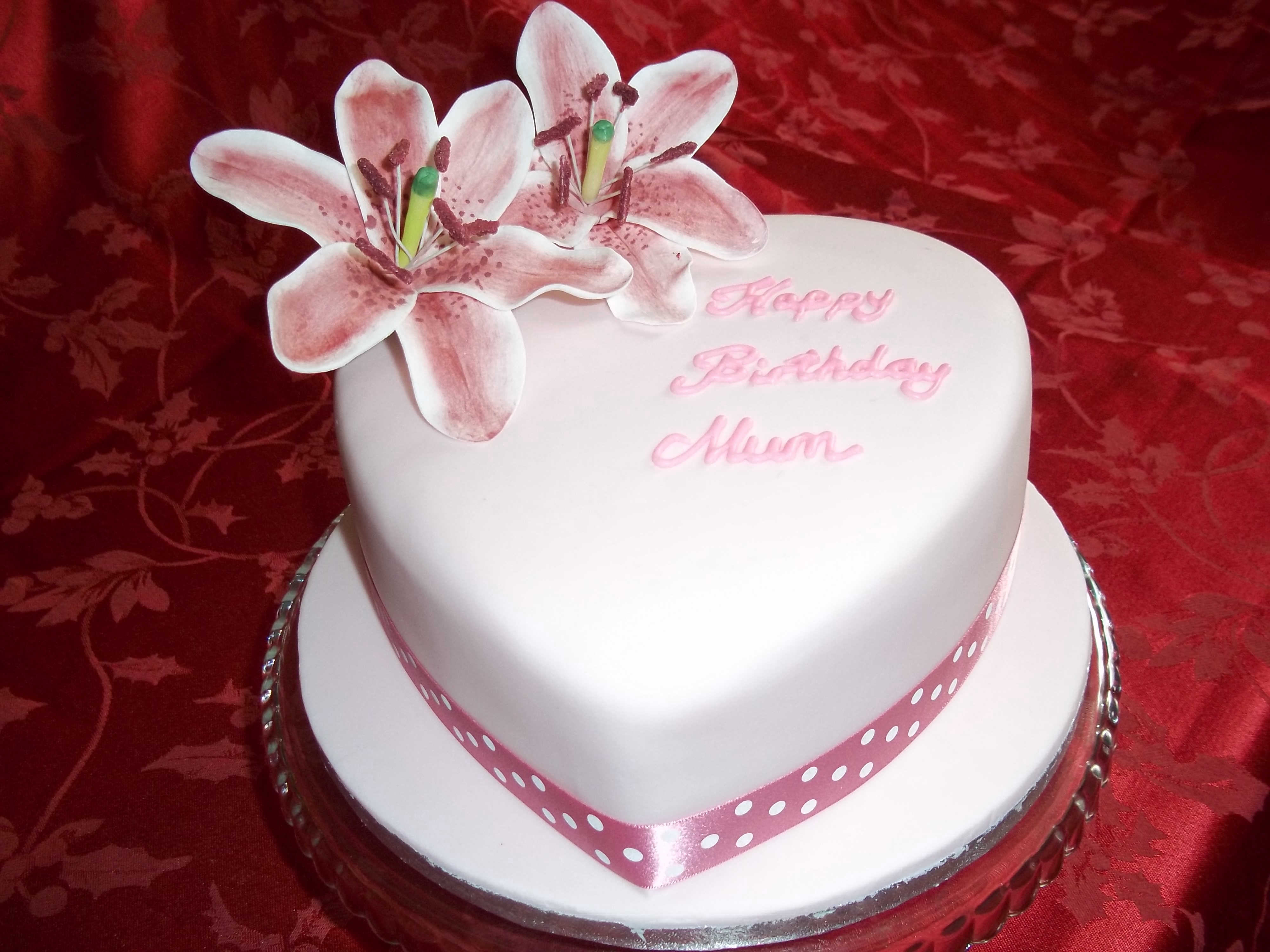 Heart shaped Lily Birthday Cake Jans Occasional Cakes