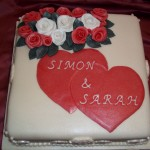Hearts and Roses Engagement Cake