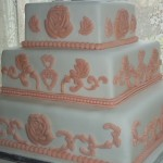 Peach Grecian Wedding cake