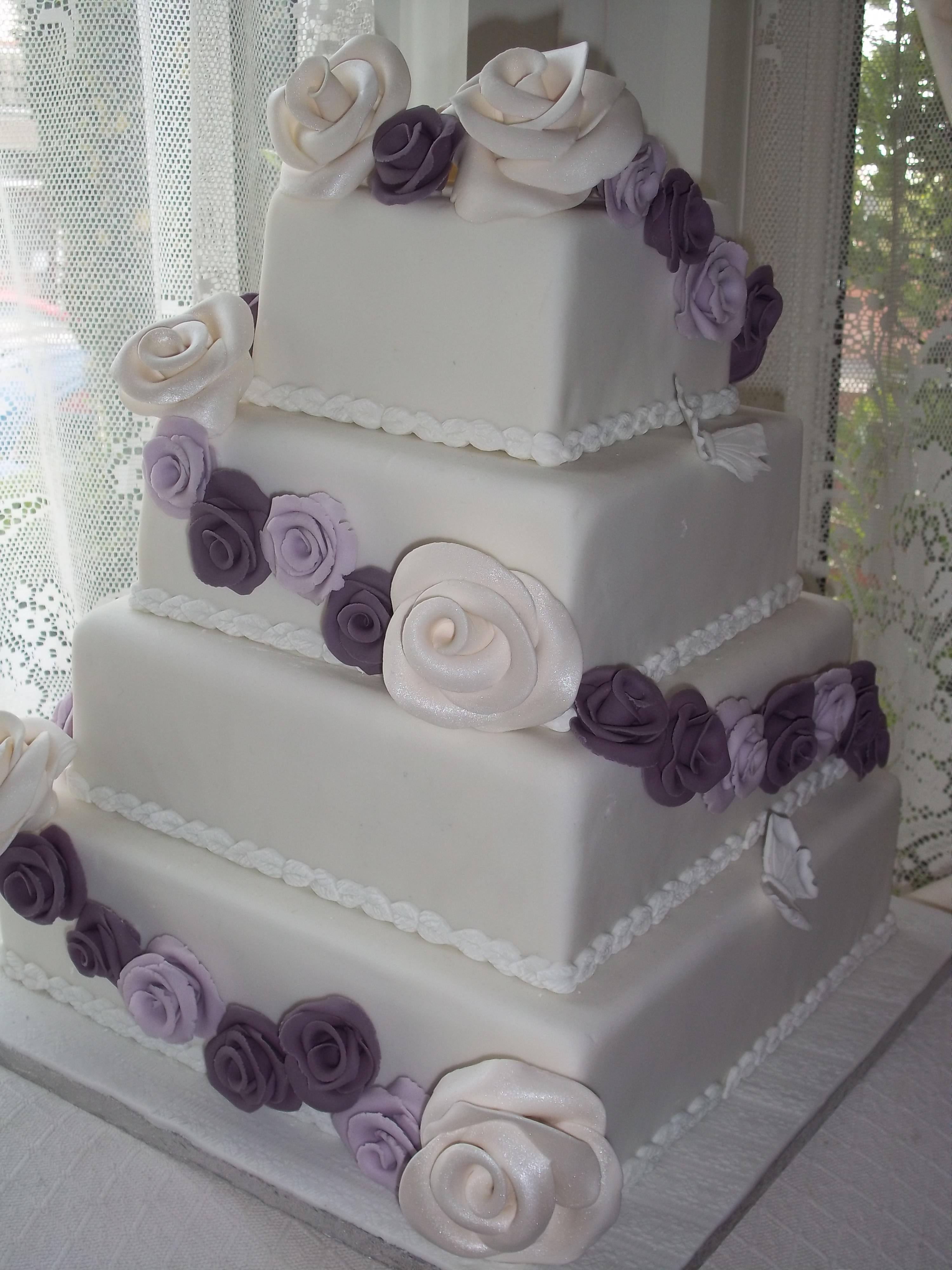 Purple Rose Wedding cake – Jan s Occasional Cakes