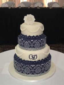 Four Tier stencilled Wedding Cake.