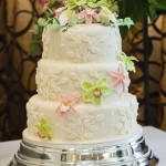 Floral Pearl 3 Tiered Wedding Cake